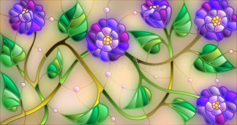 Ilustração do vitral com as flores azuis abstratas em um fundo bege ilustração stock