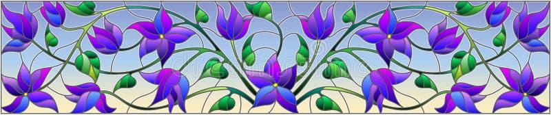 Ilustração do vitral com as flores azuis abstratas em um fundo do céu, orientação horizontal ilustração royalty free