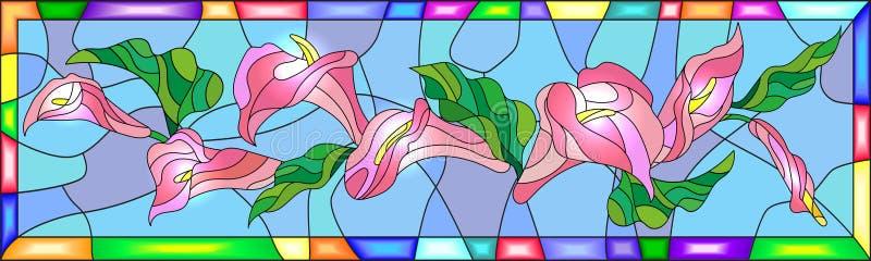 Ilustração do vitral com as flores com os lírios de Calla em um fundo azul no quadro ilustração do vetor