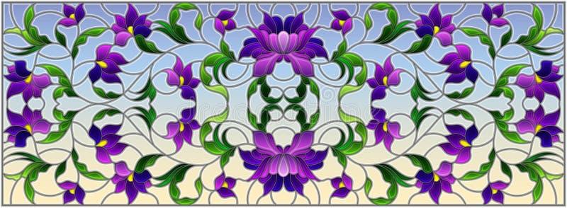 Ilustração do vitral com as flores roxas abstratas em um fundo do céu, orientação horizontal ilustração royalty free