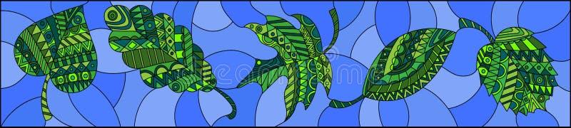 Ilustração do vitral com as folhas modeladas no fundo azul, orientação horizontal ilustração stock