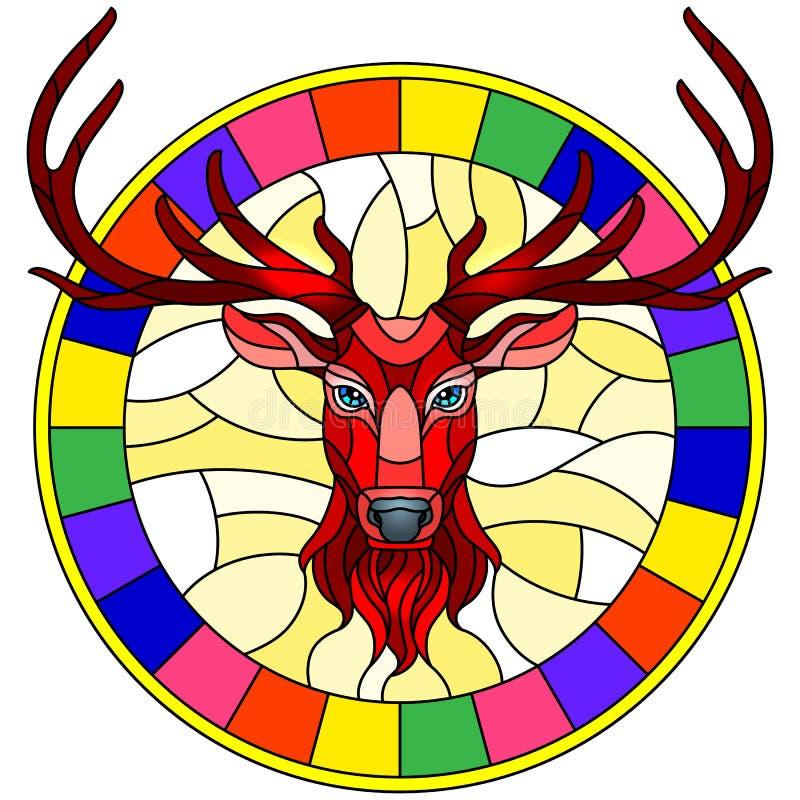 Ilustração do vitral com cabeça dos veados vermelhos no quadro redondo no fundo branco ilustração royalty free