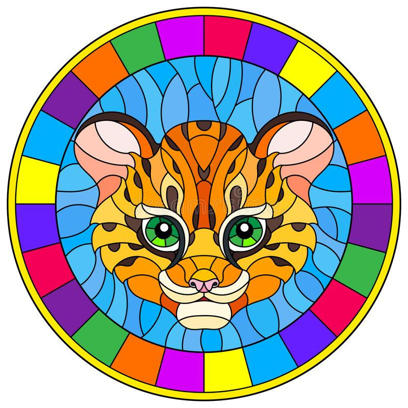 Ilustração do vitral com cabeça do leopardo do bebê no fundo azul, imagem redonda no quadro brilhante ilustração do vetor