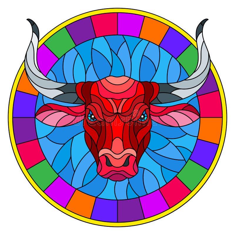 Ilustração do vitral com cabeça vermelha do touro no quadro redondo no fundo branco ilustração stock