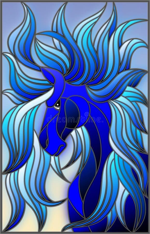 Ilustração do vitral com a cara azul abstrata de seu cavalo com juba tornando-se no fundo do céu ilustração royalty free