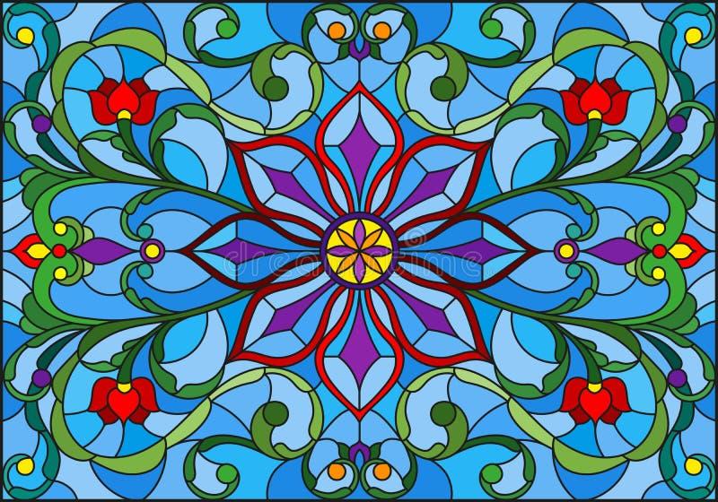 Ilustração do vitral com flores, as folhas e as ondas abstratas no fundo azul, orientação horizontal ilustração do vetor
