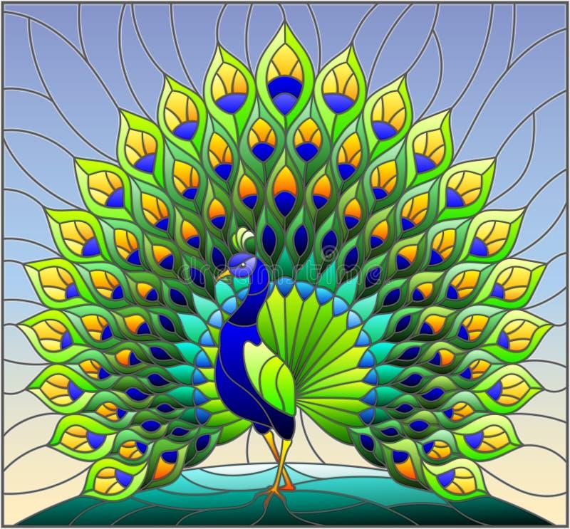 Ilustração do vitral com o pavão colorido no céu azul, fundo ilustração do vetor
