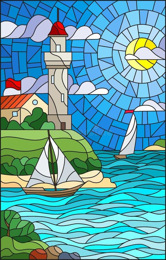 A ilustração do vitral com opinião do mar, três navios e uma costa com um farol no fundo do dia nublam-se o sol e o mar do céu ilustração royalty free