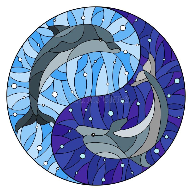 A ilustração do vitral com os dois golfinhos no fundo de bolhas da água e de ar sob a forma de Yin Yang assina ilustração royalty free