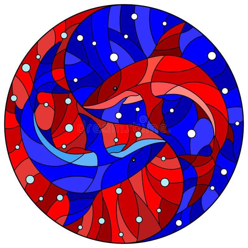 A ilustração do vitral com os dois tubarões no fundo de bolhas da água e de ar sob a forma de Yin Yang assina, vermelho e azul ilustração stock