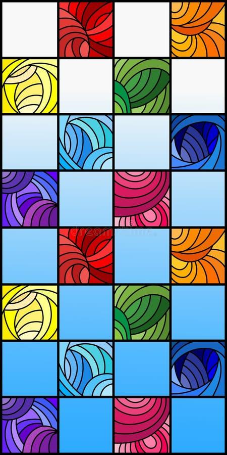 Ilustração do vitral com os quadrados coloridos coloridos no espectro do arco-íris no fundo do céu azul ilustração royalty free