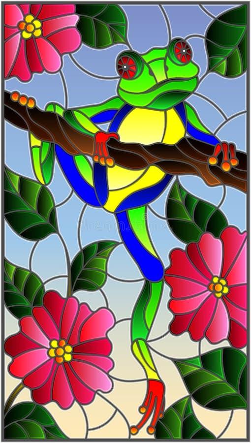 A ilustração do vitral com a rã verde-clara na planta ramifica fundo com flores e folhas no fundo do céu ilustração do vetor