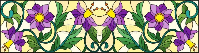Ilustração do vitral com redemoinhos abstratos, as flores roxas e as folhas em um fundo amarelo, orientação horizontal ilustração stock