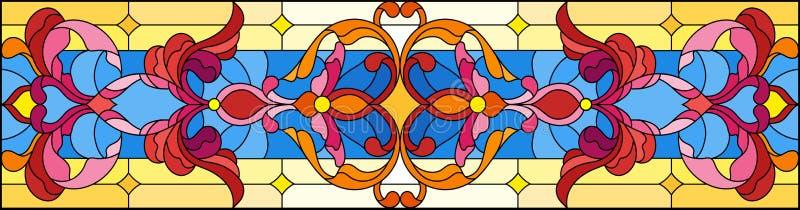 Ilustração do vitral com redemoinhos abstratos, flores e folhas em um fundo azul, orientação horizontal ilustração royalty free
