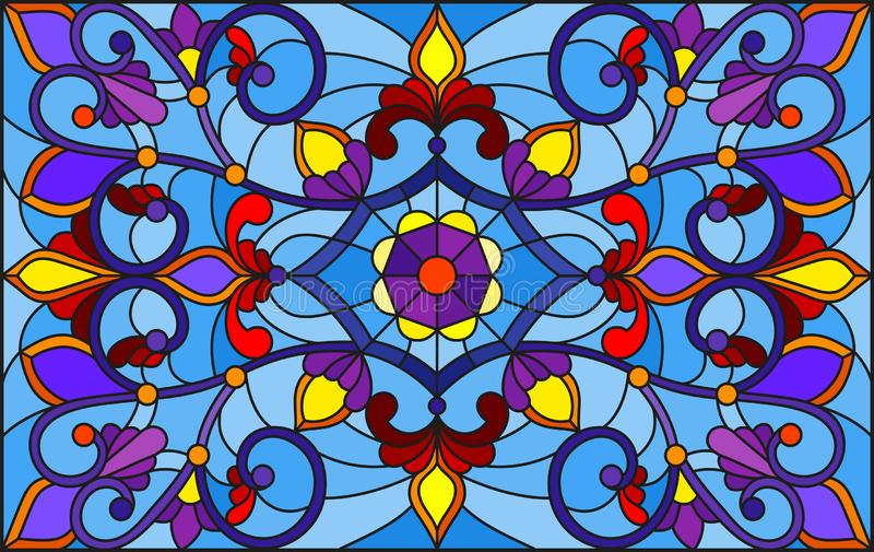 Ilustração do vitral com redemoinhos abstratos, flores e folhas em um fundo azul, orientação horizontal ilustração do vetor