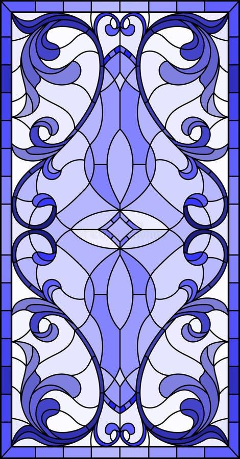 Ilustração do vitral com redemoinhos abstratos, flores e folhas em um fundo claro, azul vertical da gama da orientação ilustração stock