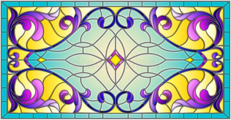 Ilustração do vitral com redemoinhos abstratos, flores e folhas em um fundo claro, orientação horizontal ilustração stock