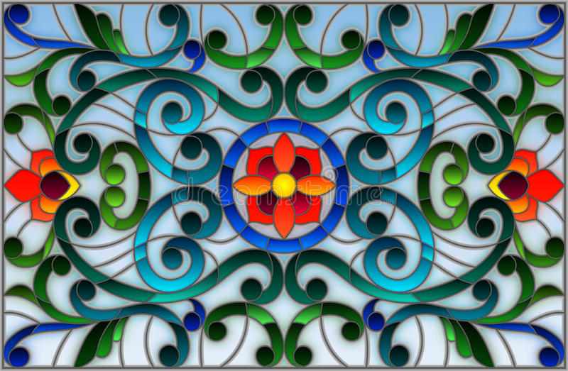 Ilustração do vitral com redemoinhos abstratos, flores e folhas em um fundo claro, orientação horizontal ilustração do vetor