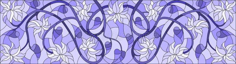 Ilustração do vitral com redemoinhos abstratos, flores e folhas em um fundo claro, orientação horizontal, azul da gama ilustração royalty free