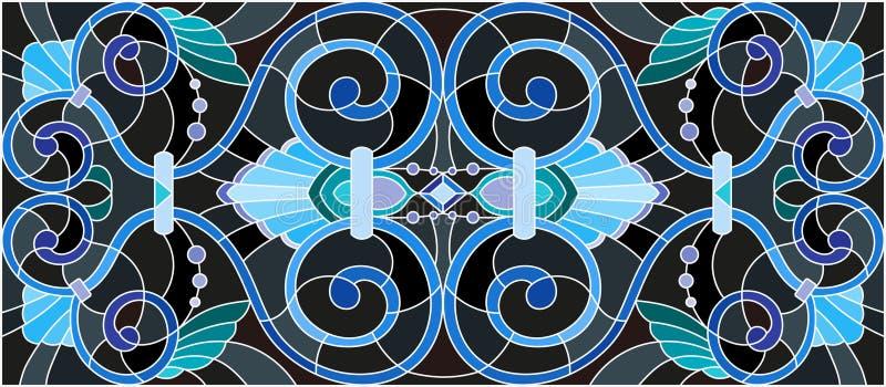 Ilustração do vitral com redemoinhos abstratos, flores e folhas em um fundo preto, orientação horizontal ilustração do vetor