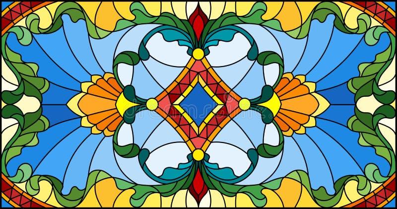 Ilustração do vitral com redemoinhos abstratos, flores e folhas, orientação horizontal ilustração royalty free
