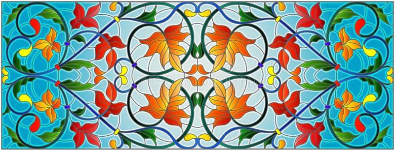 Ilustração do vitral com redemoinhos e folhas de bordo do sumário em um fundo do céu, orientação horizontal ilustração do vetor