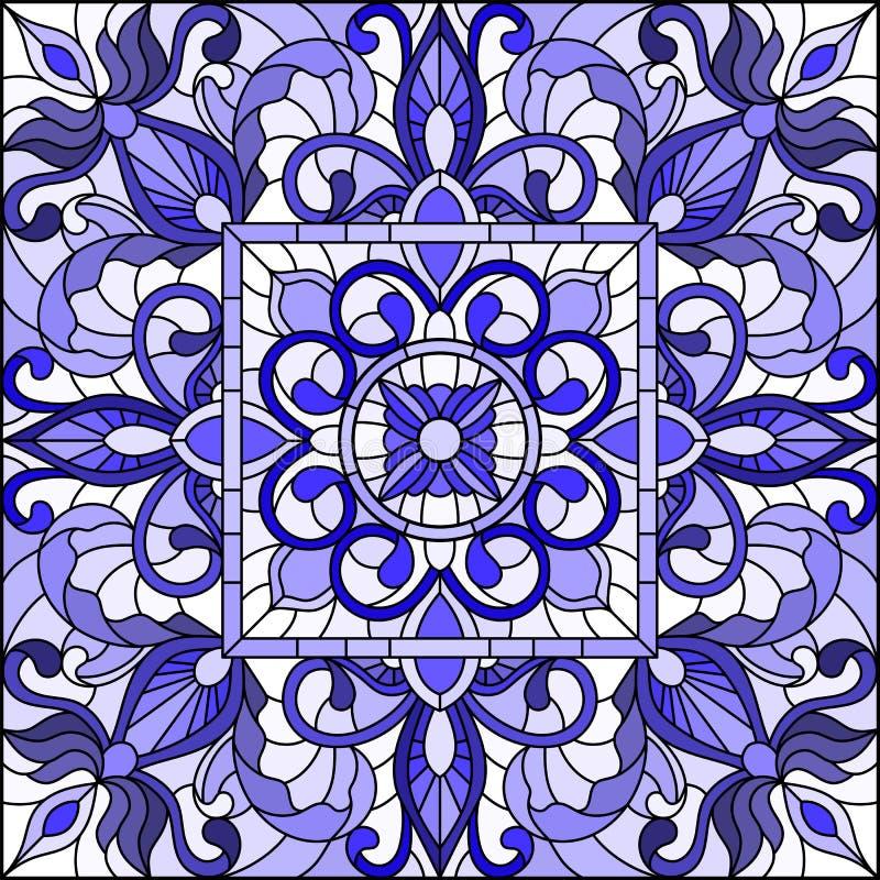 A ilustração do vitral com sumário roda e sae em um fundo claro, imagem quadrada, azul da gama ilustração stock