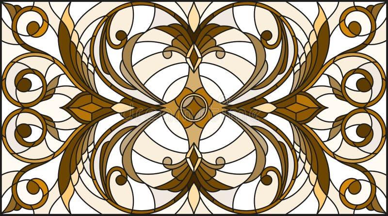 A ilustração do vitral com sumário roda e sae em um fundo claro, orientação horizontal, sepia ilustração stock
