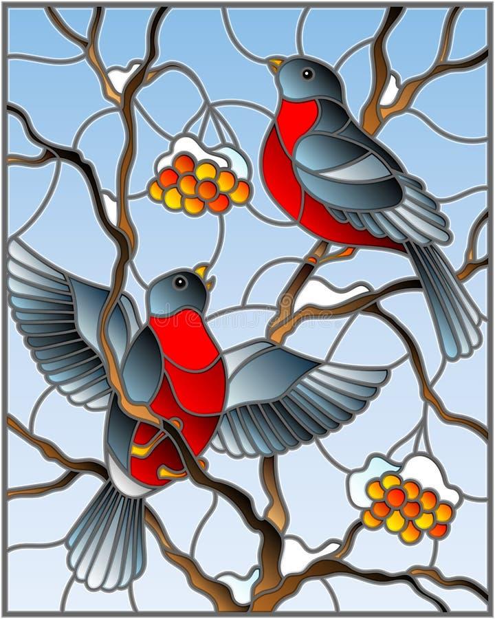 A ilustração do vitral com um par de dom-fafe dos pássaros na cinza de montanha coberto de neve ramifica com bagas em um fundo de ilustração stock