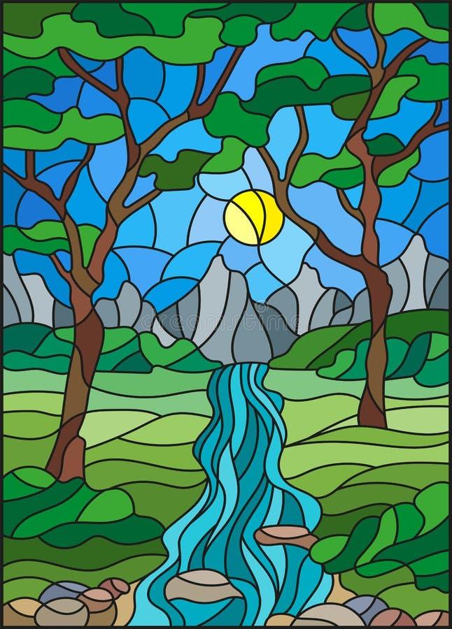 Ilustração do vitral com uma angra rochosa no fundo do céu, das montanhas, das árvores e dos campos ensolarados ilustração stock