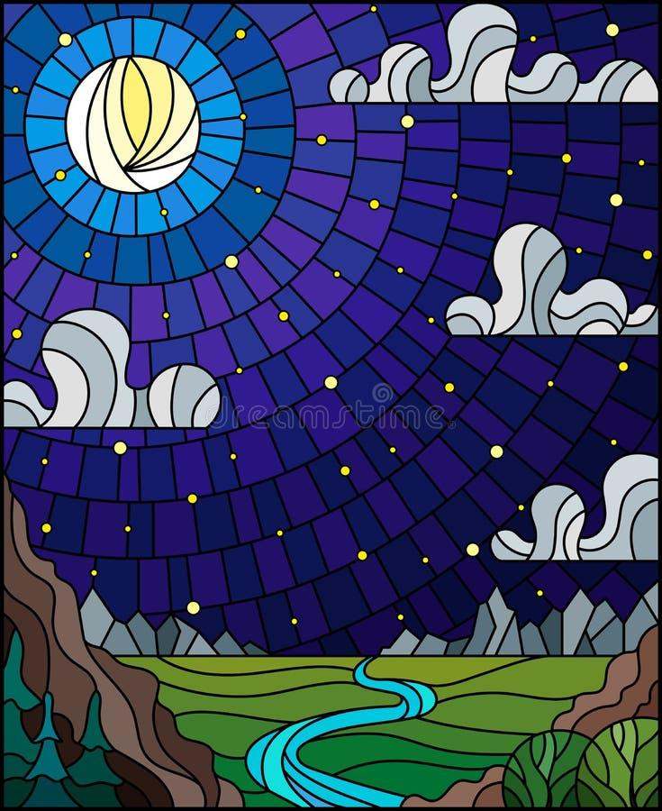 Ilustra??o do vitral com uma paisagem da noite, um vale com um rio no fundo das montanhas e o c?u noturno ilustração royalty free
