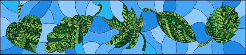A ilustração do vitral com verde modelado sae no fundo azul, orientação horizontal ilustração royalty free