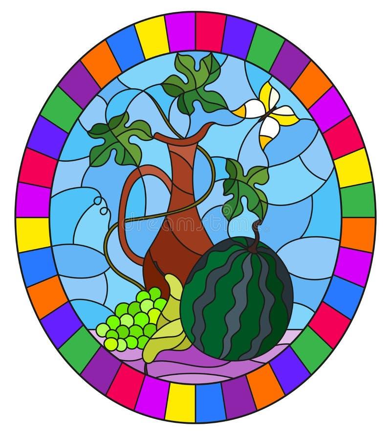 Ilustração do vitral com vida imóvel, frutos, bagas e jarro no fundo azul, imagem oval no quadro brilhante ilustração stock