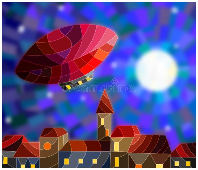 Ilustração do vitral de um dirigível no fundo do céu noturno e da cidade ilustração royalty free
