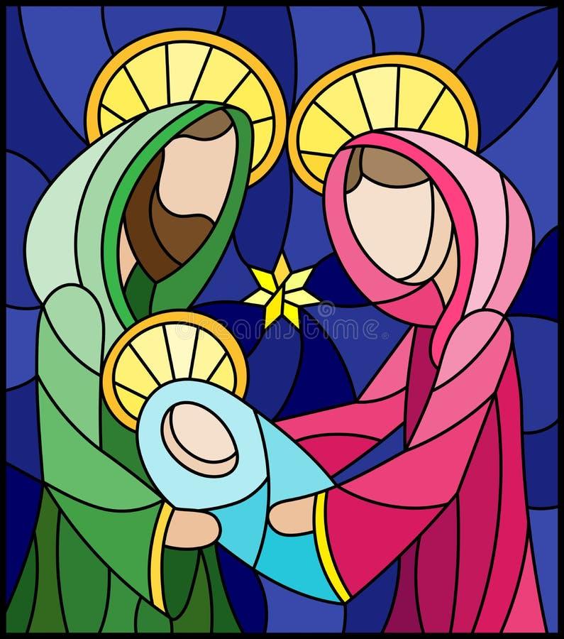 Ilustração do vitral no tema bíblico, bebê de Jesus com Mary e Joseph, figuras abstratas no fundo azul, im retangular ilustração royalty free