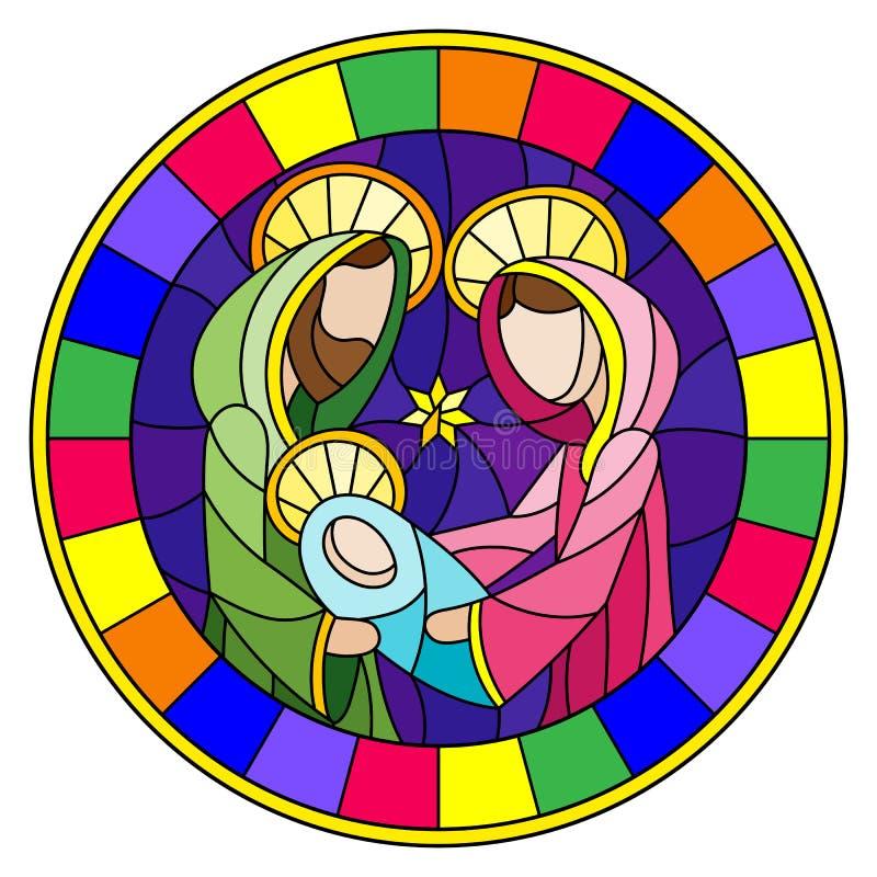 Ilustração do vitral no tema bíblico, bebê de Jesus com Mary e Joseph, figuras abstratas no fundo azul, imagem redonda mim ilustração stock