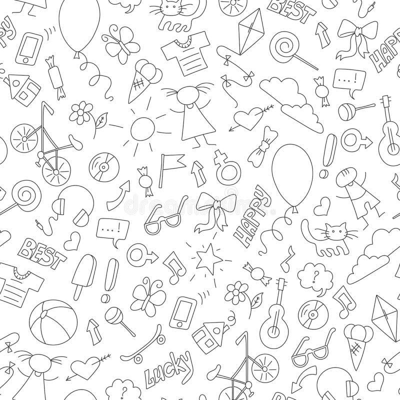 Ilustração do vitral no tema da infância, do divertimento e da amizade, ícones desenhados à mão simples, contornos escuros no bac ilustração royalty free