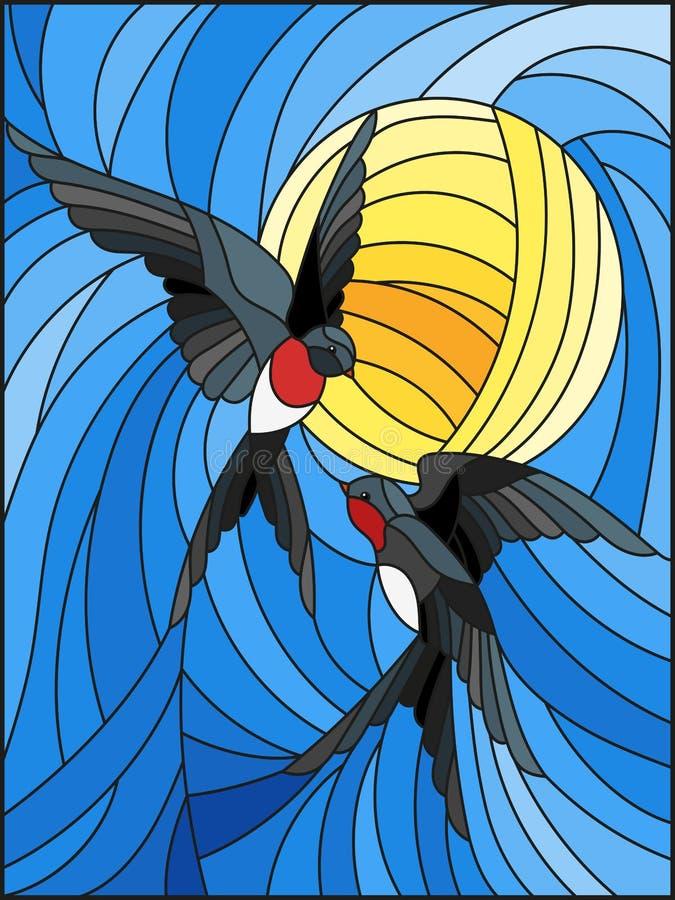 Ilustração do vitral um pares de andorinhas no fundo do céu e do sol ilustração royalty free