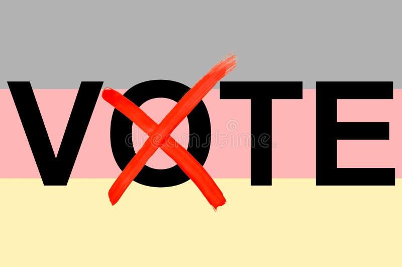Ilustração do voto da palavra com a bandeira alemão no fundo como um símbolo de eleições políticas alemãs na rendição 3D ilustração stock