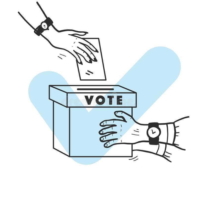 Ilustração do voto do vetor com as mãos humanas, o boletim de votação e a caixa de votação isolados no fundo branco ilustração royalty free