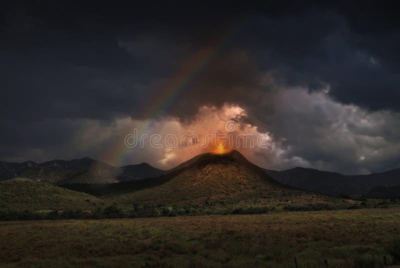 Ilustração do vulcão fotografia de stock royalty free