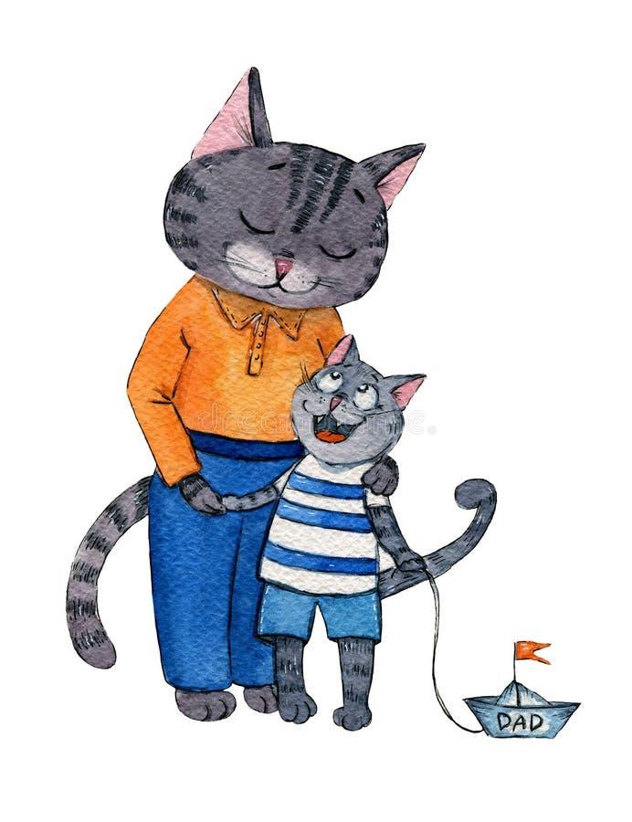 Ilustração do Watercolour de um gato do paizinho com um filho com um barco do brinquedo ilustração do vetor