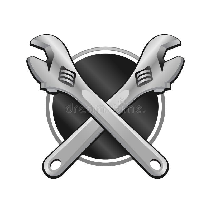 Ilustração dobro do emblema da garagem da cruz da chave ilustração do vetor