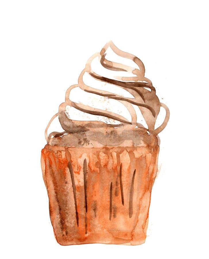 Ilustração doce da aquarela do bolo da sobremesa, torta saboroso ilustração stock