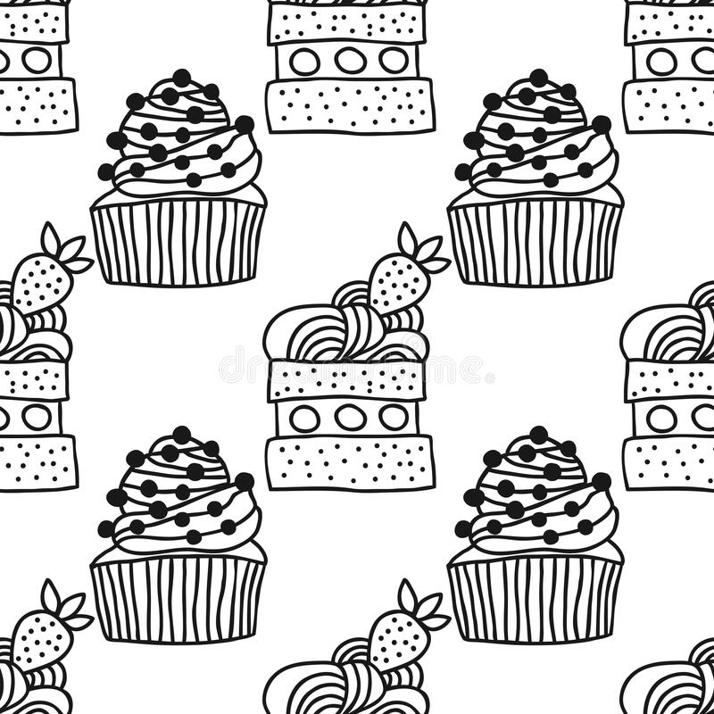 Ilustração doce da sobremesa Teste padrão sem emenda preto e branco com os bolos para livros para colorir ilustração royalty free