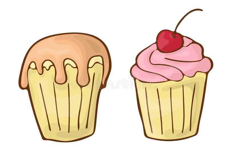 Ilustração doce do handdrawnn dos desenhos animados do ícone do vetor da sobremesa dos queques ilustração stock