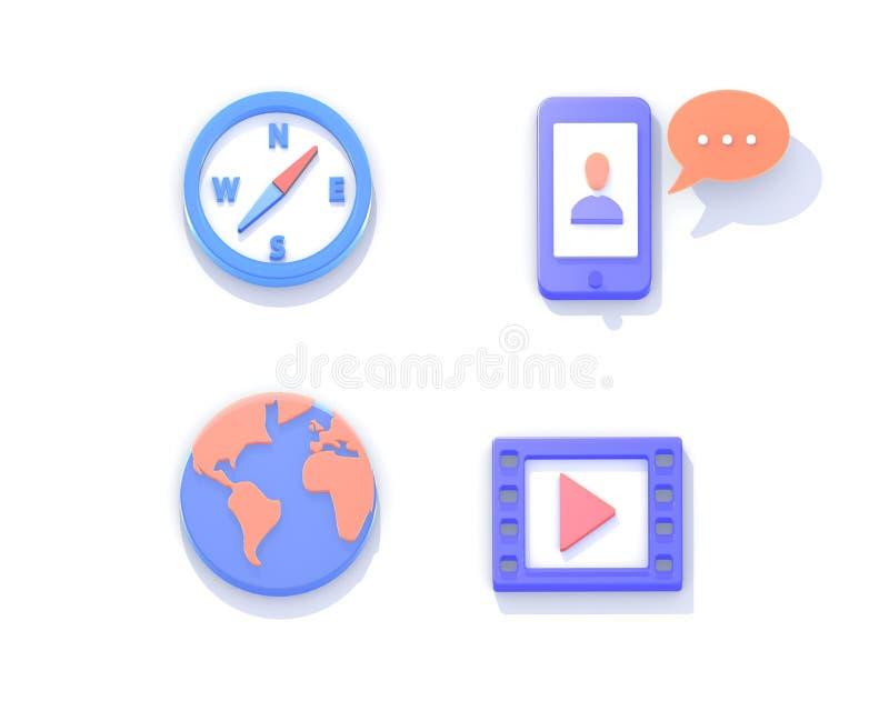 Ilustração dos ícones 3d isométricos ilustração royalty free