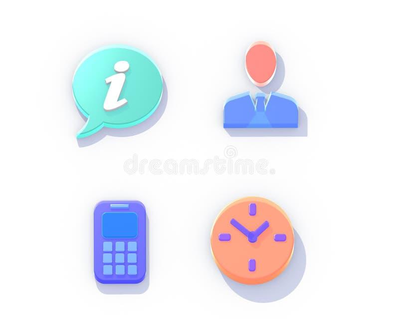 Ilustração dos ícones 3d isométricos ilustração do vetor