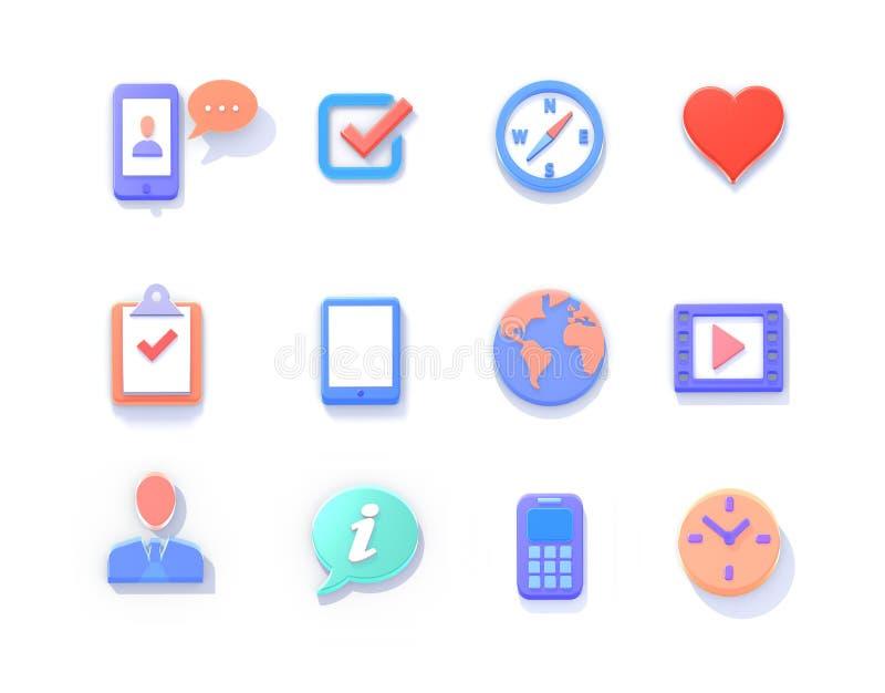 Ilustração dos ícones 3d isométricos ilustração stock