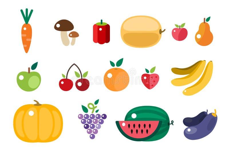 Ilustração dos ícones do alimento do tempo de colheita ilustração stock